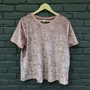 A New Day Blush Velvet Floral Blouse sz XXL